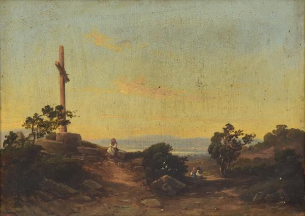 """ESCOLA EUROPEIA (SÉC. XIX). """"Momento de Oração"""", óleo s/ tela, 26 X 36."""
