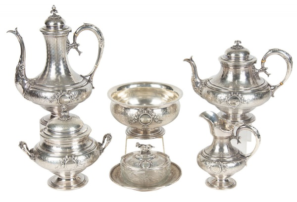 Magnífico aparelho para chá e café em prata francesa contraste