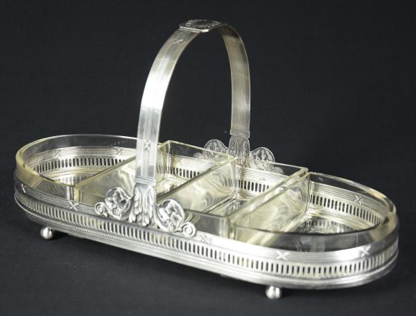 """Porta canapé ovalado inglês com alça espessurado a prata, estilo """"Neo-Clássico"""". Borda fenes"""