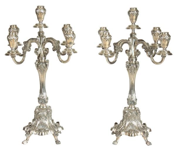 Par de candelabros para 5 luzes com reversibilidade para castiçal em prata portuguesa, contraste