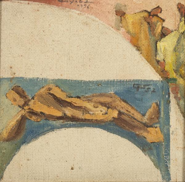 """SIGAUD, EUGÊNIO PROENÇA (1899-1979). """"Estudo para Teto"""", óleo s/ eucatex, 22 X 22. Assinado"""