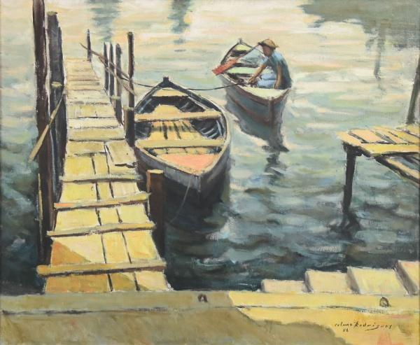 """CELMO RODRIGUES (1930-2000). """"Canoas de Pescadores Próximo ao Cais"""", óleo s/ tela, 54 X 65."""