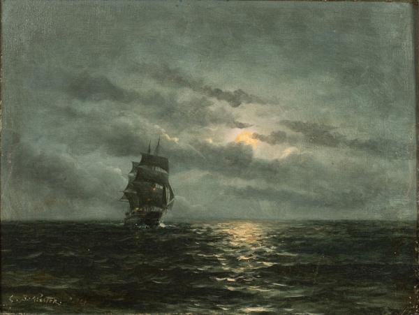 """BALLIESTER, CARLOS (1870-1927). """"Escuna Singrando em Noite de Luar"""", óleo s/ madeira, 26 x 3"""