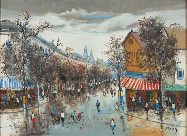 """SYLVIO PINTO (1918-1997). """"Cena Urbana em Boulevard de Paris"""", óleo s/ tela, 66 X 85. Assina"""