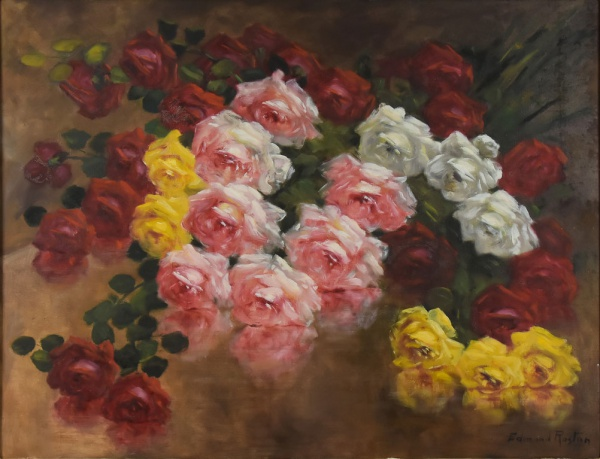 """EDMOND ROSTON (1898-1978). """"Rosas sobre a Mesa"""", óleo s/ tela, 90 X 117. Assinado no c.i.d."""