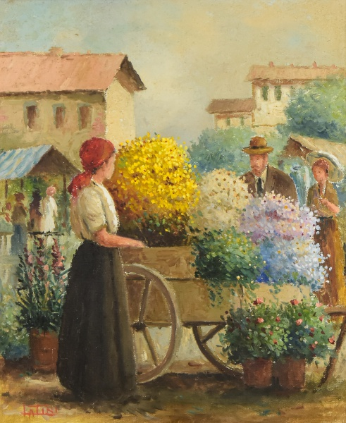 """LATINI, ANELIO (1926-1989). """"Feira de Flores"""", óleo s/ tela, 46 X 38. Assinado no c.i.e."""