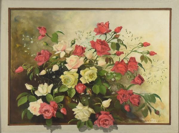 "ROSSANO (BRASIL, SÉC. XX). ""Rosas"", óleo s/ tela, 60 X 80. Assinado c.i.d."