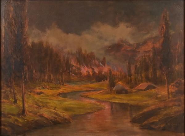 """PROF. A. BRASSAY (BRASIL, SÉC. XX). """"Queimada em Região dos Alpes"""", óleo s/ tela, 60 X 80. A"""