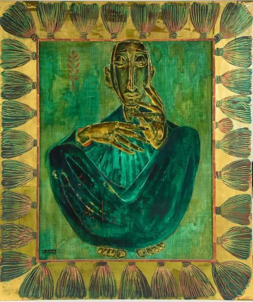 """BERNARD BOUTS (FRANÇA, 1909-1986/87). """"Figura Sentada"""", óleo s/ eucatex, 76 X 61. Assinado"""