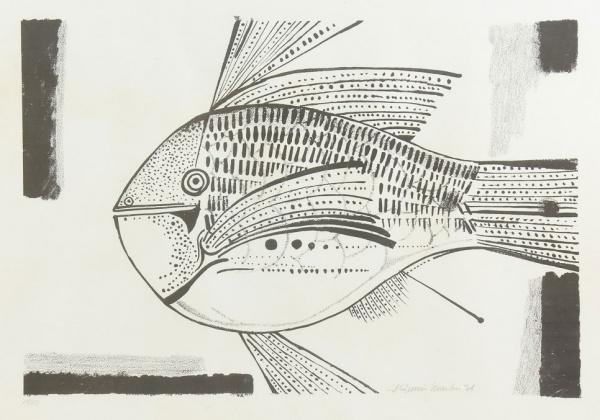 """ALDEMIR MARTINS (1922-2006). """"Peixe"""", serigrafia, 47 X 66. Assinado e datado (1978) no c.i.d"""