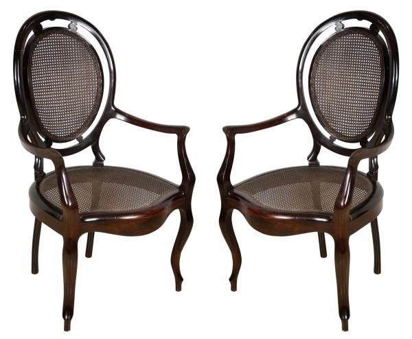 """Par de cadeiras de braço em jacarandá estilo """"Luis Felipe"""", Brasil - séc. XIX. Espaldar em m"""