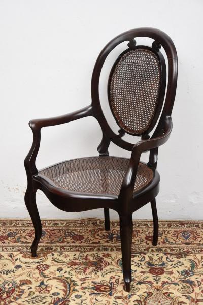 """Cadeira de braço em jacarandá estilo """"Luis Felipe"""", Brasil - séc. XIX. Espaldar em medalhão"""