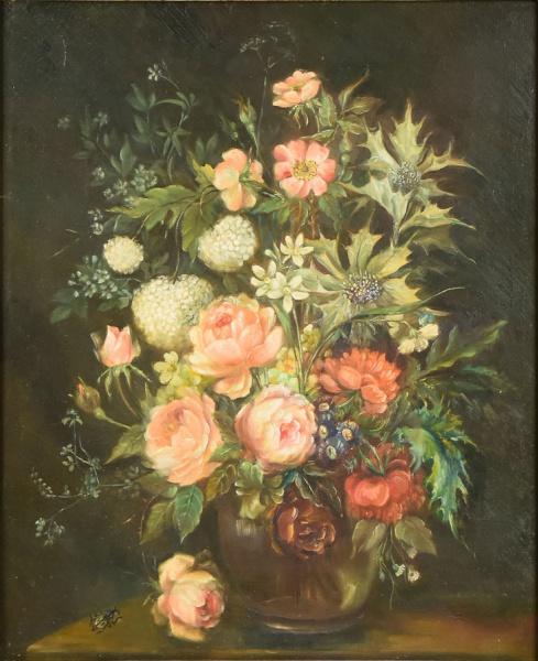 """ESCOLA FLAMENGA (SÉC. XX). """"Vaso com Flores sobre a Mesa"""", óleo s/ tela, 61 X 50."""
