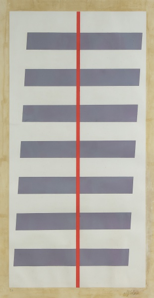 """VOLPI, ALFREDO (1896-1988). """"Fitas"""", serigrafia a cores, 78 X 42. Assinado no c.i.d."""