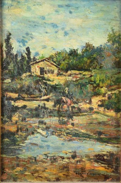 """OSWALDO TEIXEIRA (1904-1975). """"Paisagem Rural com Rio, Casario e Camponês sobre Cavalo"""", óle"""