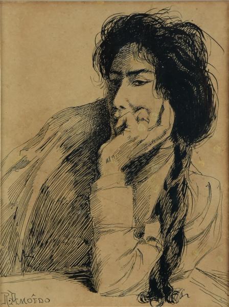 """RODOLFO AMOEDO (1857-1941). """"Momento de Reflexão"""", nanquim, 21,5 X 15,7. Assinado no c.i.e."""
