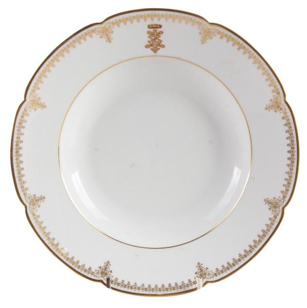 BARÃO DE SALGADO ZENHA (Manuel Salgado Zenha, Portugal 1837-1894). Prato fundo em porcelana francesa