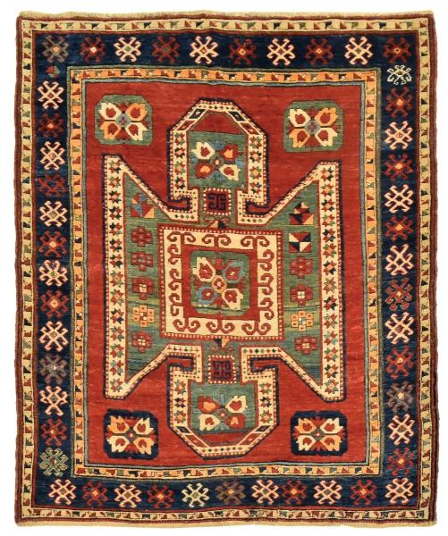 Raro tapete Kasak Sewan (circa 1880), medindo: 1,95 X 1,50 = 2,92m². Reproduzido com foto no catálog