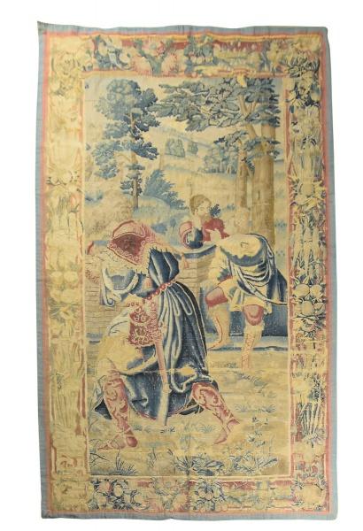 """Antiga tapeçaria europeia com cenas de """"Nobres Guerreiros na floresta"""", medindo: 2,80 X 1,55"""