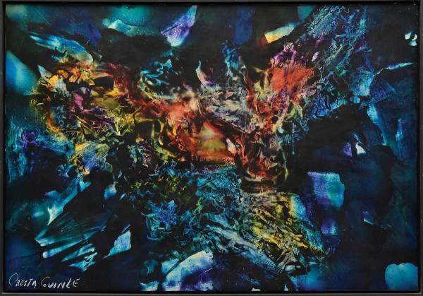 """CRESTA GUINLE, JORGE (1943). """"Sonho Cósmico III"""", óleo s/ linho, 90 x 130. Assinado no c.i.e"""