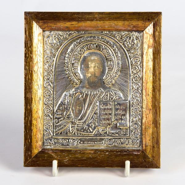 NOSSO SENHOR JESUS CRISTO. Ícone em prata 925mls contrastado, lavrado e cinzelado com florões. Medid