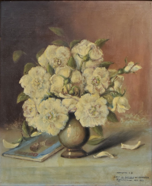"""M. FETEL (BRASIL, SÉC. XX). """"Vaso com Flores e Livro sobre a Mesa"""", óleo s/ eucatex, 61 X 50"""