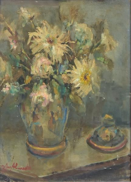 """JOSÉ MARIA DE ALMEIDA (1906-1995). """"Potiche com Flores sobre a Mesa"""", óleo s/ tela, 46 X 35."""