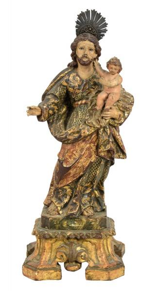 SÃO JOSÉ COM MENINO. Imagem em madeira policromada. Alt.: 36cm. Portugal - séc. XIX. Acompanha respl