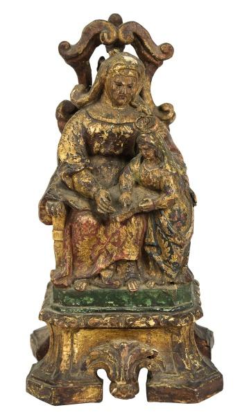 SANT'ANNA MESTRA. Grupo sacro em madeira policromada. Alt.: 28cm. Portugal - séc. XVIII.  Reprod