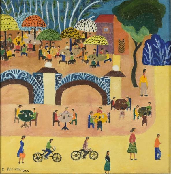"""ROSINA BECKER DO VALLE (1914-2000). """"Parque de Diversões"""", óleo s/ tela, 33 X 33. Assinado e"""