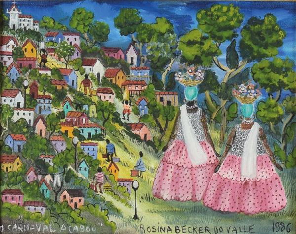 """ROSINA BECKER DO VALLE (1914-2000). """"O Carnaval Acabou"""", óleo s/ tela, 24 X 31. Assinado e d"""