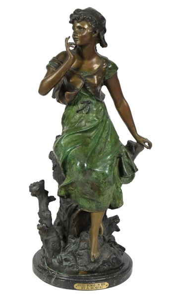 """AUGUSTE MOREAU (FRANÇA, 1834-1917). """"Seated Woman on Tree"""", escultura em bronze patinado. Ba"""