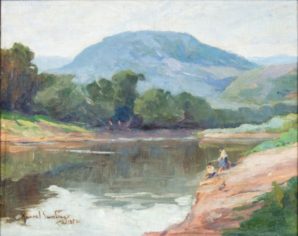 "MANOEL SANTIAGO (1897-1987). ""Pescadores na Beira do Rio"", óleo s/ tela, 28 x 35. Assinado e"