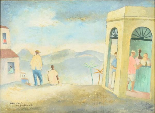 """JOÃO MARIA DOS SANTOS (1910-1988). """"O Entardecer"""", óleo s/ eucatex, 40 X 55. Assinado e data"""