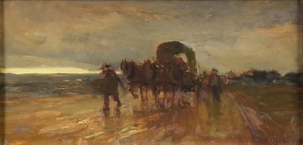 """DARIO MECATTI (1909-1977). """"A Caravana em Cidade do Interior"""", óleo s/ madeira, 13 X 25. Ass"""