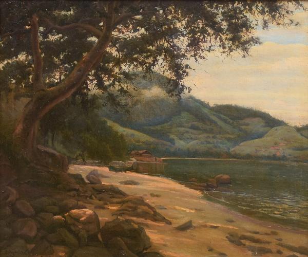 """EDGAR WALTER (1917-1994) - """"Canto de Praia na Ilha Grande em Angra dos Reis"""", óleo s/ tela,"""