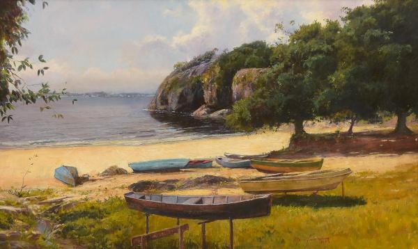 """MAURO FERREIRA (1958) - """"Canto de Praia com Canoas em Niterói"""", óleo s/ tela, 46 x 75. Assin"""