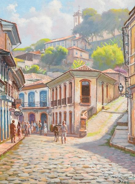 """WILSON VICENTE (BRASIL SÉC. XX) - """"Cena Urbana em Ouro Preto - MG"""", óleo s/ eucatex, 46 x 37"""