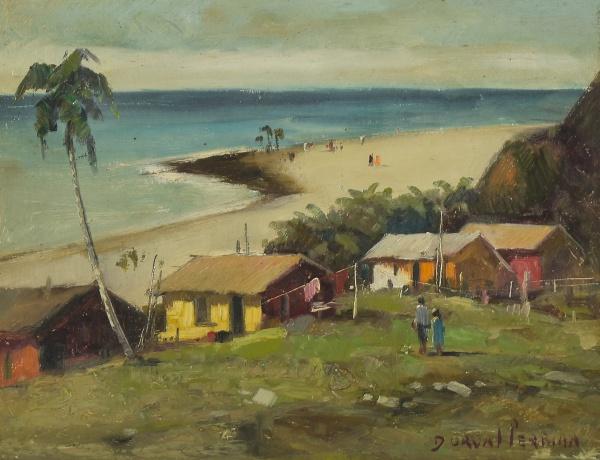 """DURVAL PEREIRA (1917-1984) - """"Figuras e Casas de Pescadores em Praia do Nordeste"""", óleo s/ e"""