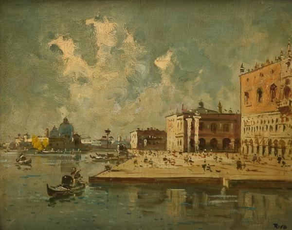 "RISO (ESCOLA ITALIANA - SÉC. XIX) - ""Piazza Di San Marco - Veneza"", óleo s/ madeira, 24 x 30"