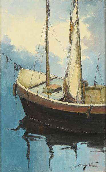 """SANSÃO PEREIRA (1926-2014). """"Barco de Pescador em Repouso"""", óleo s/ tela, 81 X 61. Assinado"""