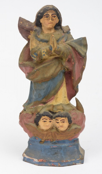 NOSSA SENHORA DA CONCEIÇÃO. Imagem em madeira policromada. Alt.: 18 cm. Bahia - séc. XVIII/XIX.