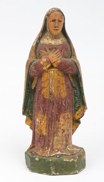 NOSSA SENHORA DAS DORES. Imagem em madeira policromada. Alt.: 22 cm. Minas - séc. XIX.