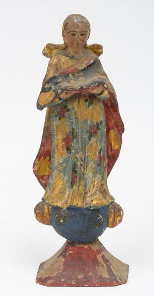 NOSSA SENHORA DA APRESENTAÇÃO. Imagem em madeira policromada. Alt.: 27 cm. Bahia- séc. XIX. (Apresen