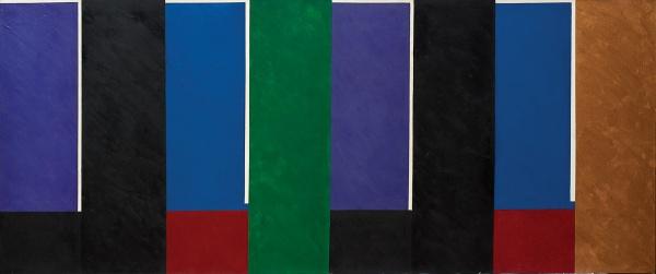 """EDUARDO SUED (1925). """"Composição"""", óleo s/ tela, 90 x 210. Assinado e datado (2001) no verso. Acompanha certificado de autenticidade. Reproduzido com foto no catálogo."""