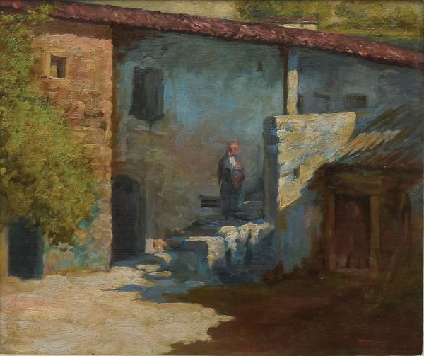 """FAUSTO GONÇALVES (PORTUGAL, 1893-1946). """"Casarão com Camponesa"""", óleo s/ madeira, 37 x 43. Assinado e datado (1921) no c.i.d. Reproduzido com foto no catálogo."""