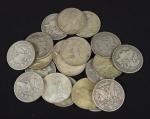 Vinte moedas americanas em prata no valor de 1 Dólar, sendo algumas do séc. XIX e outras da década de 20. Peso: 530g.