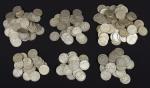 Duzentas e onze moedas americanas em prata no valor de meio Dólar, da década de 20 até a década de 40. Peso: 2.630g.