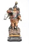 SÃO MIGUEL. Raríssima imagem em madeira policromada. Acompanha balança e espada. Alt.: 38cm. Portugal - séc. XVIII/XIX.
