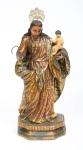 SÃO JOSÉ COM MENINO. Rara imagem em madeira policromada. Alt.: 30cm. Bahia - séc. XIX. (Falta a mão esquerda e pés do Menino).